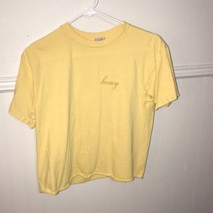 "Tops - Brandy Melville Yellow ""Honey"" T-shirt"